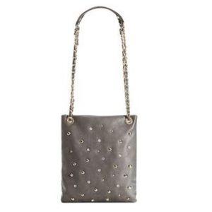Buckle Black Leather Studded Embellished Chain Bag